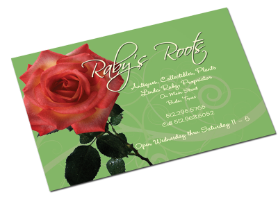 Raby's Roots business card